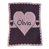 Heart with Banner Stroller Blanket in Pink