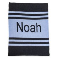 Pin Strip Stroller Blanket in Blue/Charcoal