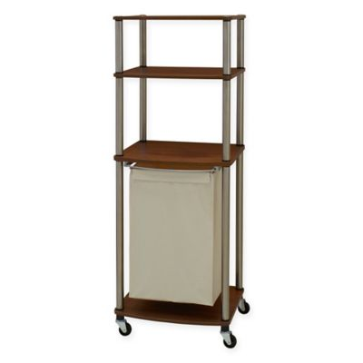household essentials laundry hamper storage cart in medium walnut - Bathroom Cart