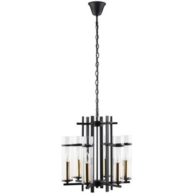 Buy black chandeliers from bed bath beyond modway chime 6 light metal chandelier in black aloadofball Images