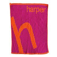 Slanted Letter Stroller Blanket in Orange