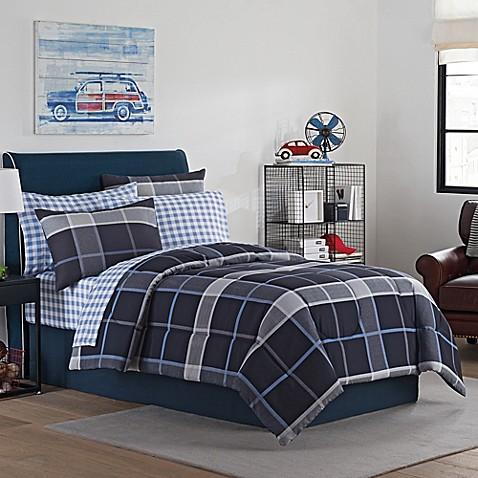 ethan comforter set in grey blue bed bath beyond. Black Bedroom Furniture Sets. Home Design Ideas