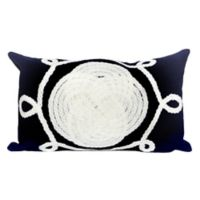 Liora Manne Visions II Ornamental Knot Rectangular Indoor/Outdoor Throw Pillow in Navy