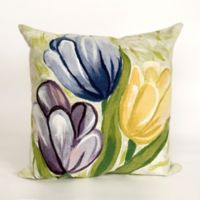 Liora Manne Visions III Tulips Cool Square Throw Pillow in Purple/Green