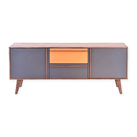Moes home collection bliss sideboard in grey yellow bed for Sideboard alt