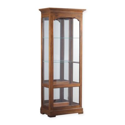 Powell Oakdale Large Curio Cabinet In Warm Oak