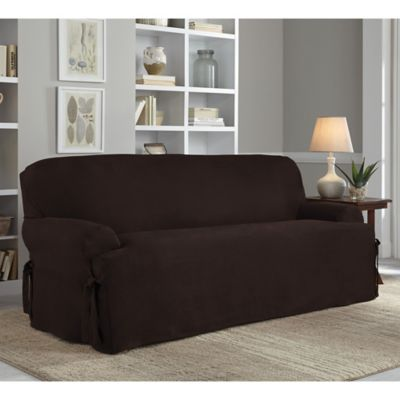Perfect Fit® Smooth Suede Relaxed Fit T Cushion Sofa Slipcover In Chocolate