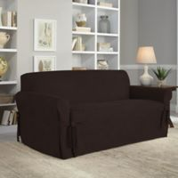 Perfect Fit® Smooth Suede Relaxed Fit Loveseat Slipcover in Chocolate