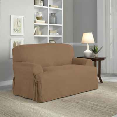 Perfect Fit® Smooth Suede Relaxed Fit T-Cushion Loveseat Slipcover