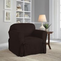 Perfect Fit® Smooth Suede Relaxed Fit Chair Slipcover in Chocolate
