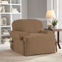 Perfect Fit® Smooth Suede Relaxed Fit T-Cushion Chair Slipcover in Taupe