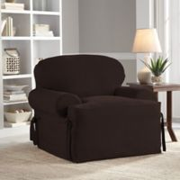 Perfect Fit® Smooth Suede Relaxed Fit T-Cushion Chair Slipcover in Chocolate