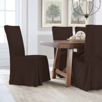 Perfect Fit® Smooth Suede Relaxed Fit Dining Chair Slipcover in Chocolate
