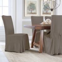 Perfect Fit® Smooth Suede Relaxed Fit Dining Chair Slipcover in Grey
