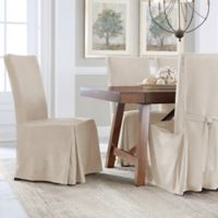 Perfect Fit® Smooth Suede Relaxed Fit Dining Chair Slipcover in Ivory