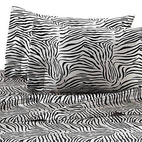 Satin Luxury Zebra Full Sheet Set