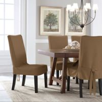 Perfect Fit® Smooth Suede Relaxed Fit Dining Chair Short Slipcover in Taupe