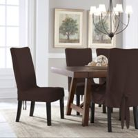 Perfect Fit Smooth Suede Relaxed Dining Chair Short Slipcover In Chocolate