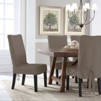 Perfect Fit® Smooth Suede Relaxed Fit Dining Chair Short Slipcover in Grey