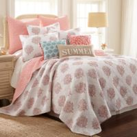 Coral Breeze Reversible Twin Quilt in Coral