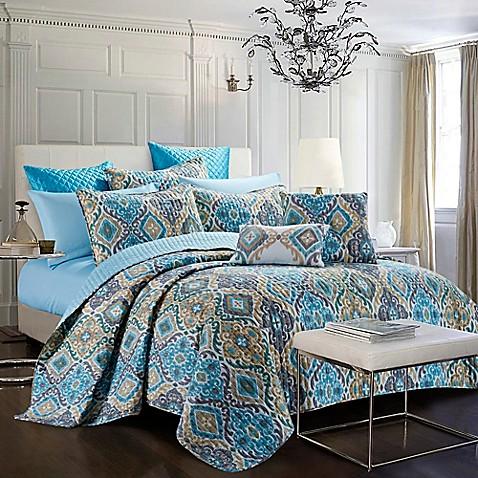 Bellina Reversible Quilt Set In Blue Gold Bed Bath Amp Beyond