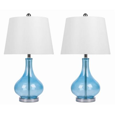 Abbyson Living Luciana Table Lamps In Turquoise (Set Of 2)