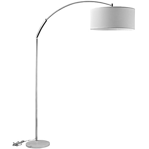 Modway lexmod strobe single light marble floor lamp in white with fabric shade