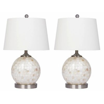 Abbyson Mini Round Table Lamp In Mother Of Pearl