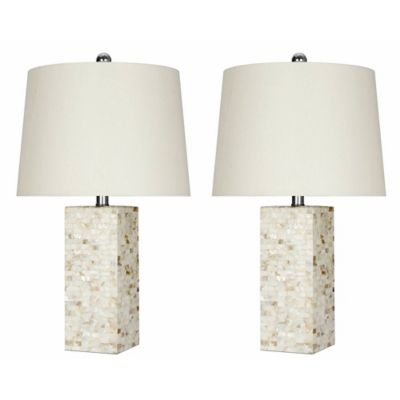 Buy mother of pearl lamp from bed bath beyond abbyson living mother of pearl single light table lamps in white with ivory shades aloadofball Images