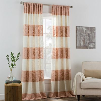 KAS ROOM Carina 95 Inch Rod Pocket Window Curtain Panel In Coral