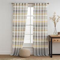 KAS ROOM Logan 63-Inch Rod Pocket Back Tab Window Curtain Panel in Gold