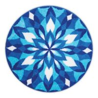 Grund Mandala Ice Castle Designer 48-Inch Round Bath and Accent Rug in Blue