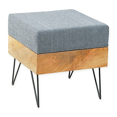 image of Moe's Home Collection Square Pouf in Grey Linen