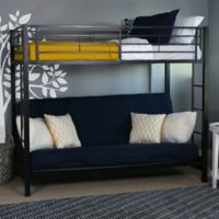 Walker Edison Metal Twin Over Futon Bunk Bed in Black