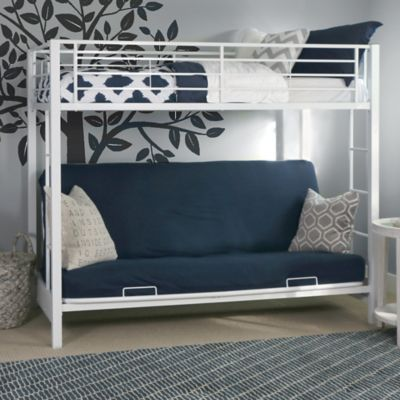 walker edison metal twin over futon bunk bed in white