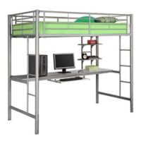 Walker Edison Twin Loft Bed with Workstation in Silver