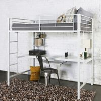 Walker Edison Twin Loft Bed with Workstation in White