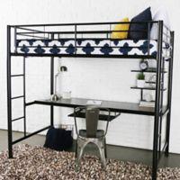 Walker Edison Twin Loft Bed with Workstation in Black