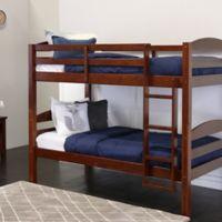 Walker Edison Twin Solid Wood Bunk Bed in Espresso