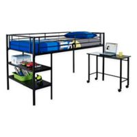 Walker Edison Twin Loft Bed with Desk in Black
