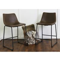 Walker Edison Faux Leather Counter Stool in Brown (Set of 2)