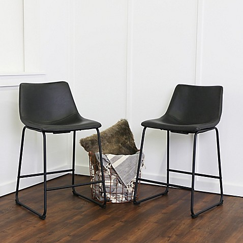 forest gate faux leather bar and counter stools set of 2 bed bath beyond. Black Bedroom Furniture Sets. Home Design Ideas