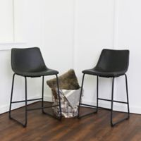 Walker Edison Faux Leather Counter Stool in Black (Set of 2)