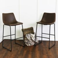 Walker Edison Faux Leather Bar Stool in Brown (Set of 2)