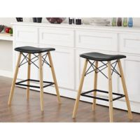 Walker Edison Retro Faux Leather Counter Stool in Black