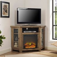 Walker Edison 48-Inch Corner Fireplace TV Stand in Barnwood