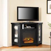 Walker Edison 48-Inch Corner Fireplace TV Stand in Black
