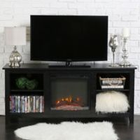 Walker Edison 58-Inch Essential Fireplace TV Console in Black