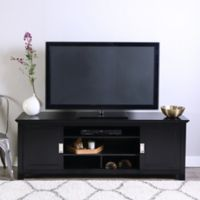 Walker Edison 70-Inch TV Console with Sliding Doors in Black