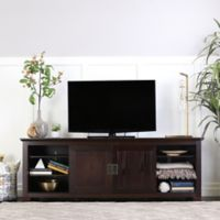 Walker Edison 70-Inch TV Console with Sliding Doors in Espresso